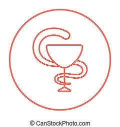 gyógyszerészeti, orvosi jelkép, egyenes, icon.