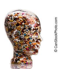 gyógyszer, és, tabletta, fordíts, gyógyít, betegség