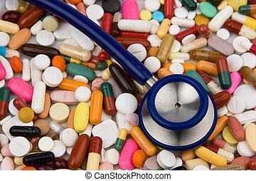gyógyszer, gyógyít, sztetoszkóp