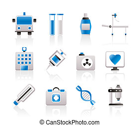 gyógyszer healthcare, ikonok