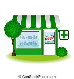 gyógyszertár, épület, icon., vektor