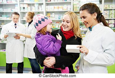 gyógyszertár, gyermek, vegyész, drogéria, anya
