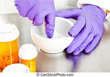 gyógyszertár, -, habarcs mozsártörő, closeup