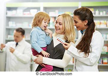 gyógyszertár, vegyész, anya gyermekek, alatt, drogéria
