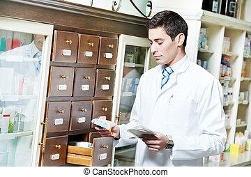 gyógyszertár, vegyész, ember, alatt, drogéria