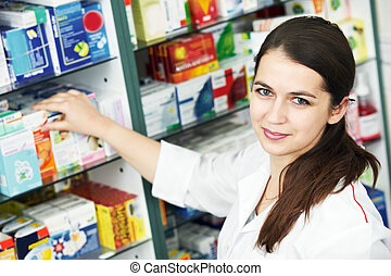 gyógyszertár, vegyész, nő, alatt, drogéria