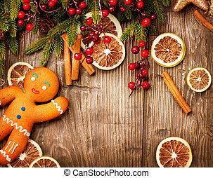 gyömbéres mézeskalács, háttér., ünnep, karácsony, ember