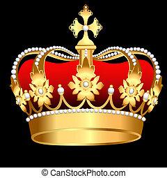 gyöngyszem, ív, korona, arany