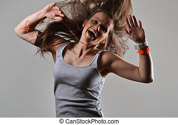 gyönyörű, állóképesség, woman táncol