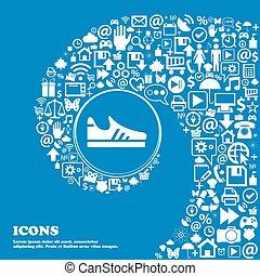 gyönyörű, állhatatos, középcsatár, ikonok, cégtábla., meggörbült, egy, nagy, futás, vektor, cipő, spirál, icon., kedves, ikon