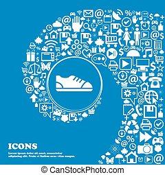 gyönyörű, állhatatos, középcsatár, ikonok, cégtábla., meggörbült, egy, nagy, vektor, cipő, spirál, icon., kedves, ikon