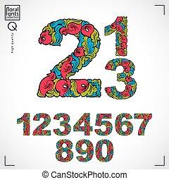 gyönyörű, állhatatos, színes, ornament., füvészkönyv, vektor, számok, virágos, díszes, elkészített, style., numeration
