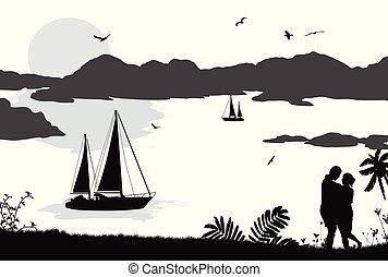 gyönyörű, árnykép, párosít, hajó, napnyugta, tenger