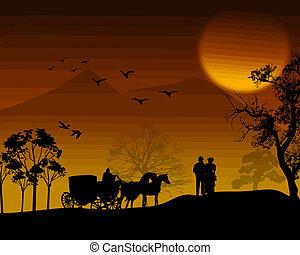 gyönyörű, árnykép, táj, emberek
