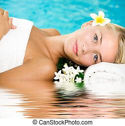 gyönyörű, ásványvízforrás, nő, fiatal