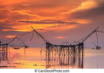 gyönyörű, ég, és, napkelte, -ban, pak, pra, falu, nettó...
