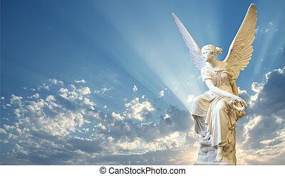 gyönyörű, ég, angyal