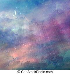 gyönyörű, ég, noha, csillaggal díszít, háttér