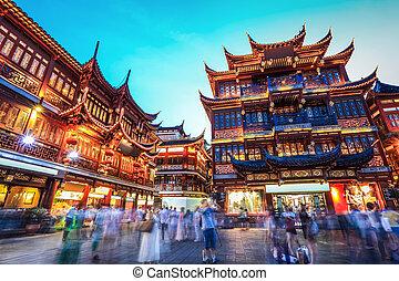 gyönyörű, éjszaka, shanghai, kert, yuyuan