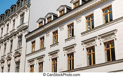 gyönyörű, épület, öreg, birtok, épület, -, épülethomlokzat, külső, tényleges, felújít