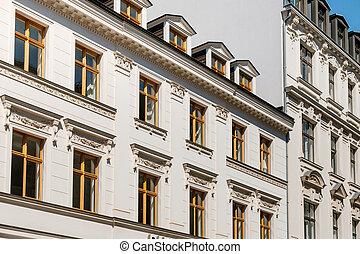 gyönyörű, épület, öreg, helyreállított, épület, épülethomlokzat, németország, berlin, külső
