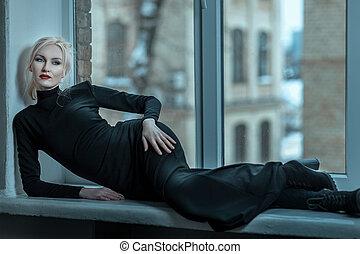 gyönyörű, és, hideg, woman.
