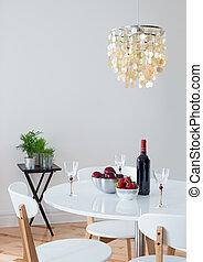 gyönyörű, étkező, díszes, csillár, szoba