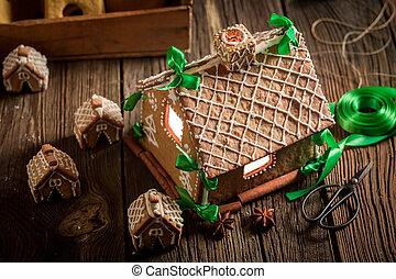 gyönyörű, öreg, műhely, villaház, gyömbéres mézeskalács, karácsony