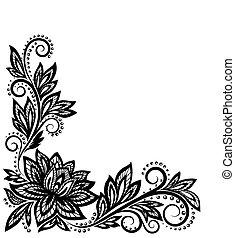 gyönyörű, öreg, motívum, elem, tervezés, virágos, style.