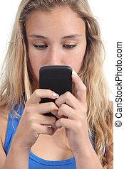 gyönyörű, összpontosított, neki, mobile telefon, tizenéves, leány