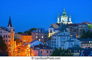 gyönyörű, ősi, leszállás, andrew's, kiev, ukraine., utca, éjszaka, kilátás