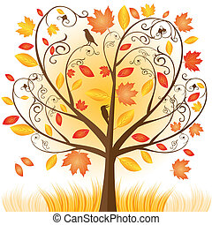 gyönyörű, ősz, fa