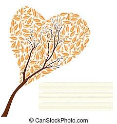gyönyörű, ősz, fa, szív alakzat, helyett, -e, tervezés