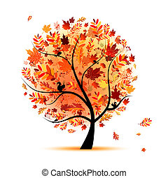 gyönyörű, ősz, tervezés, fa, -e