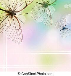 gyönyörű, (1, három, set), pillangók, háttér, bokeh