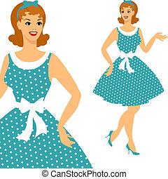 gyönyörű, 1950s, tekebábu, leány, style.