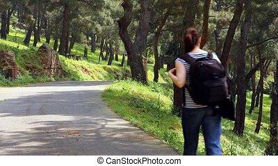 gyönyörű, 2, gyalogló, utca, leány