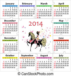 gyönyörű, 2014, naptár, leány