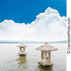 gyönyörű, a, nyugat, tó, táj, alatt, hangzhou,