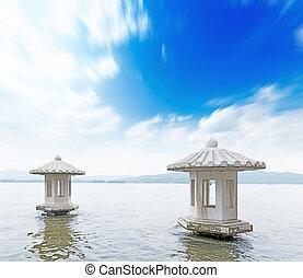 gyönyörű, a, nyugat, tó, táj, alatt, hangzhou