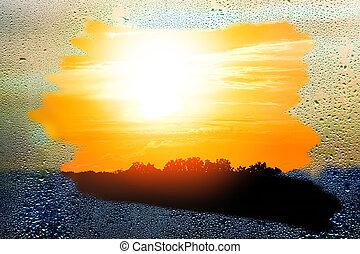 gyönyörű, ablak, át, természet, savanyúcukorka, liget, háttér, napnyugta