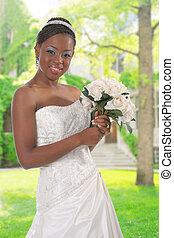 gyönyörű, african american, menyasszony, portré, külső