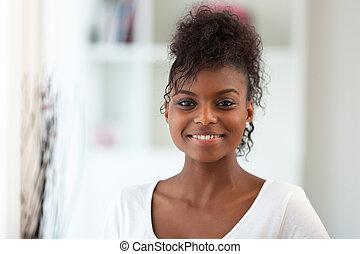 gyönyörű, african american woman, portré, -, fekete, emberek