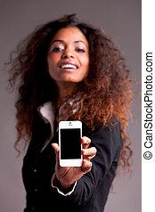 gyönyörű, afroamerican, nő, kiállítás, telefon