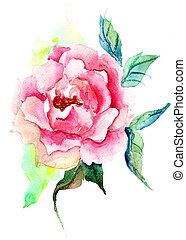 gyönyörű, agancsrózsák, menstruáció, vízfestmény festmény