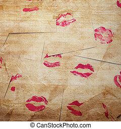 gyönyörű, ajkak, piros
