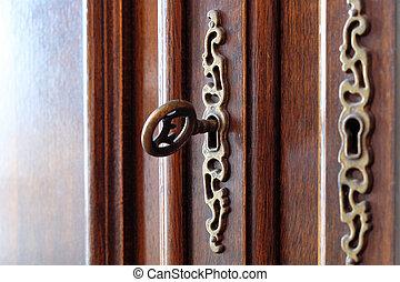 gyönyörű, ajtó, fából való, szüret, -, kulcs, berendezés
