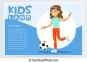 gyönyörű, aktivál, leány, játék futball, gyerekek, vidék, transzparens, lakás, vektor, elem, helyett, website, vagy, mozgatható, app