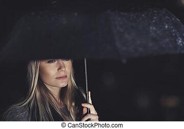 gyönyörű, alatt, nő, eső, bús