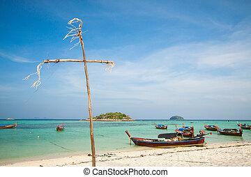 gyönyörű, antenna, tengerpart, kilátás